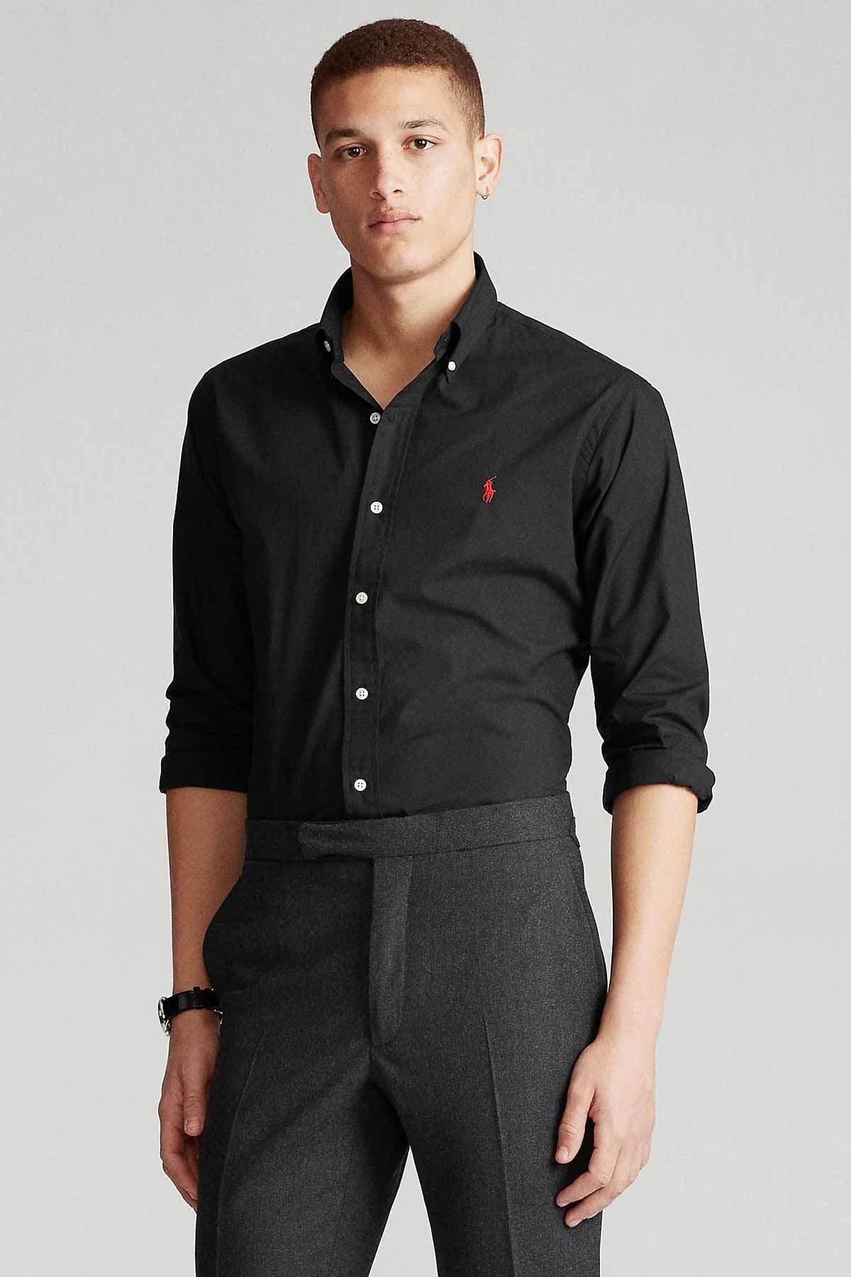 Polo Ralph Lauren Erkek Siyah Custom Fit Gömlek 1
