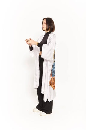 Empty Kadın Taş Rengi Kurt Figürlü Kimono