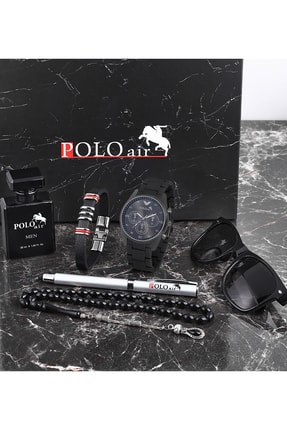 Polo Air Polo Erkek Set Kombin Saat Gözlük Parfüm Tesbih Kalem Bileklik Özel Kutulu Pl-0432e1