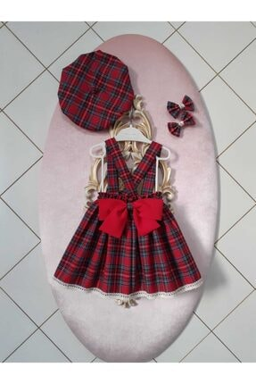 Eylülce Butik Kız Bebek Kırmızı Ekoseli Salopet Takım