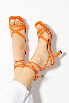 derithy Kadın Turuncu Topuklu Ayakkabı byc1702
