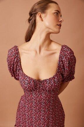 Never more Kadın Kırmızı Fırfır Detaylı Mini Elbise