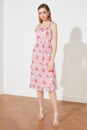 TRENDYOLMİLLA Çok Renkli Fırfırlı Askılı Elbise TWOSS21EL1772