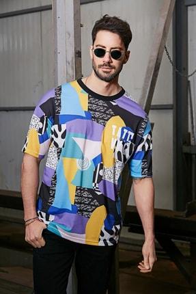 Sateen Men Erkek Mor Dijital Baskılı T-Shirt