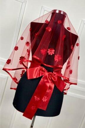 U.B UTKUBABY Biyeli 3d Çiçek Ve Inci Süslemeli Gelin Duvak Seti Duvak Kuşak Eldiven Komple Set