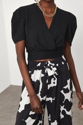 XENA Kadın Siyah Kruvaze Bluz 1KZK2-11592-02