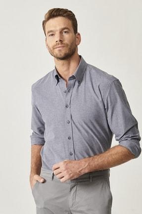 AC&Co / Altınyıldız Classics Erkek Antrasit Düğmeli Yaka Tailored Slim Fit Oxford Gömlek