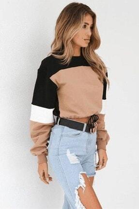 boutiquen Kadın Siyah Beli Lastikli Blok Renk Sweatshirt