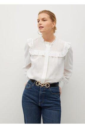 Violeta by MANGO Kadın Beyaz Çizgi Dokumalı Bluz