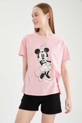 DeFacto Kadın Pembe Regular Fit Mickey&minnie Baskılı Tişört