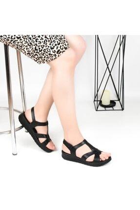 Pandora Kadın Siyah  Ortopedik Deri Günlük Sandalet Hy7040