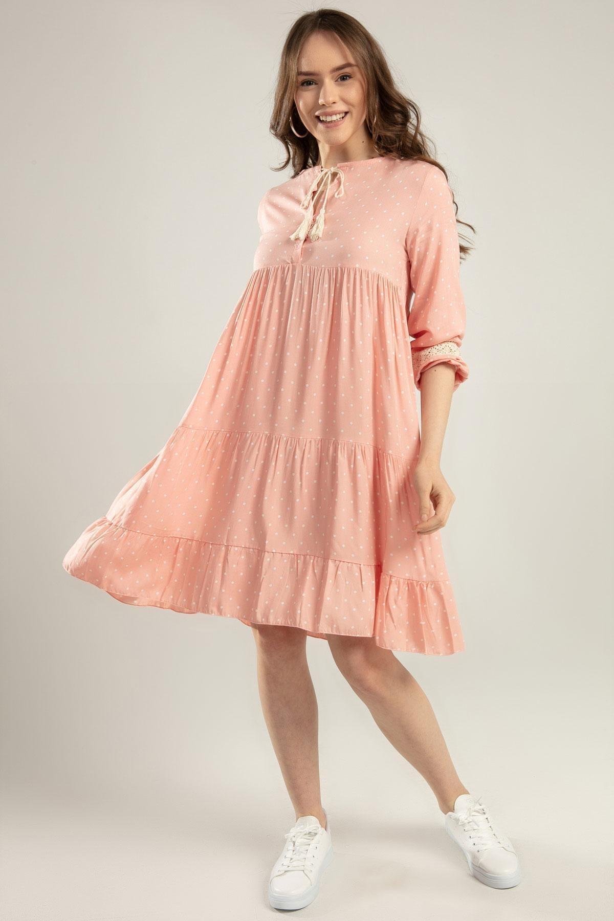 Pattaya Kadın Puantiyeli Dantel Detaylı Elbise Y20s110-1637 1