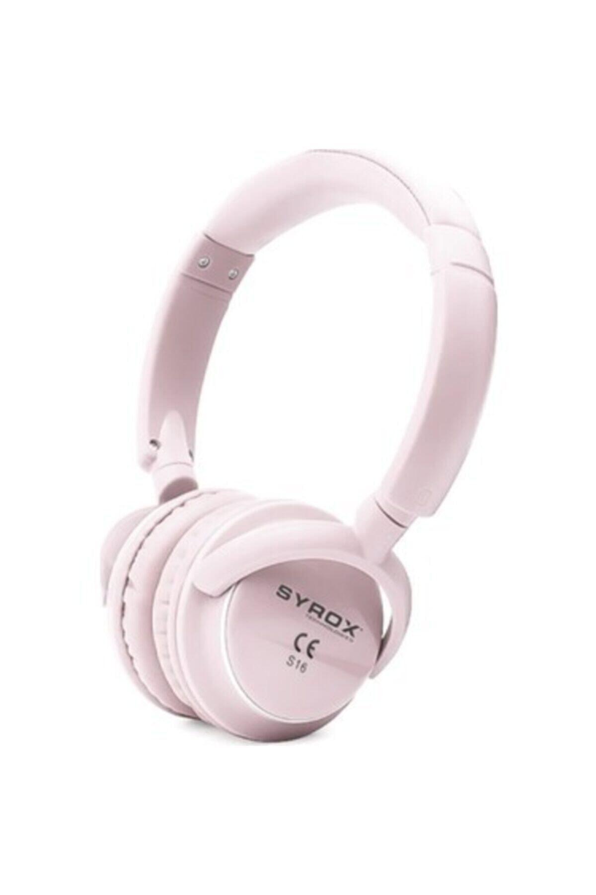 Syrox Kulaküstü Kablosuz Bluetooth Kulaklık Hafıza Kartı Girişli S16 Pembe 1