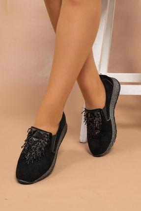 MelikaWalker Kadın Siyah Süet Boncuk Örme Toka Süper Hafif Poli Simli Taban Babet Ayakkabı