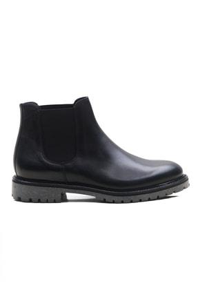 Ataköy Ayakkabı Erkek Siyah Lastik Detay Deri Bot