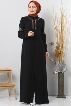 Tesettür Dünyası Etnik Nakışlı Elbise Tsd7019 Siyah