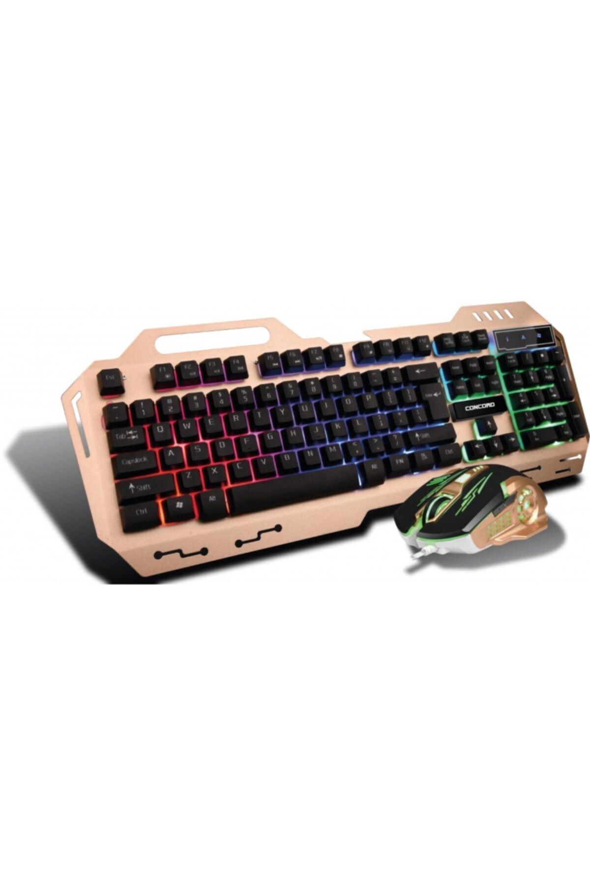 Concord Metal Kasa Oyuncu Klavye Mouse Seti - Gaming Pc Metal Işıklı Klavye Mouse Seti 1