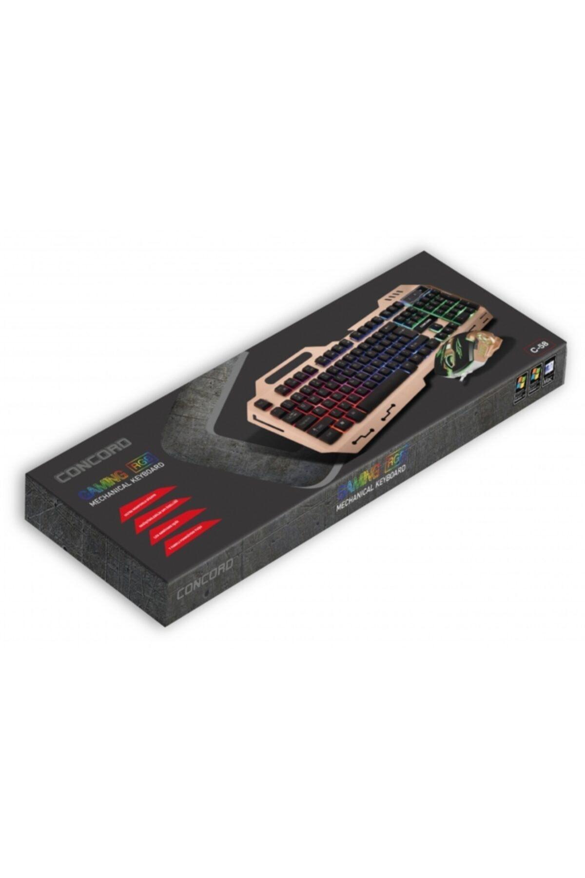 Concord Metal Kasa Oyuncu Klavye Mouse Seti - Gaming Pc Metal Işıklı Klavye Mouse Seti 2