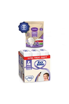 Evy Baby Bebek Bezi 4 Numara Maxi Ultra Fırsat Paketi 162 Adet Ve Duru Granül Sabun 400gr