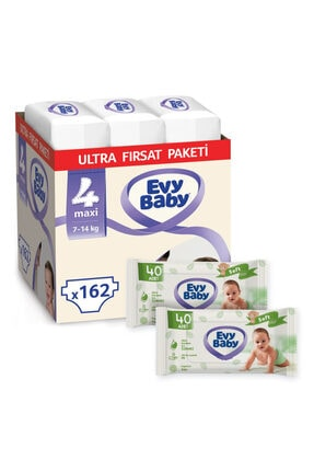 Evy Baby Bebek Bezi 4 Numara Maxi 162 Adet Ve 2 Paket Islak Havlu