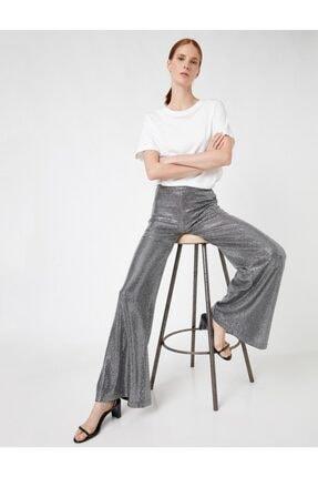 Koton Kadın Gümüş Yüksek Bel Payetli Geniş Paça Pantolon