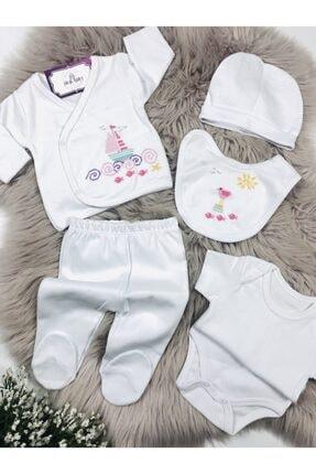 Ciccim Baby Kız Bebek Beyaz Yelken İşlemeli 5'li Zıbın Seti