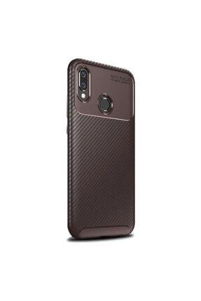 Huawei Teleplus Y6 2019 Negro Karbon Ve Silikonlu Kılıf Kahverengi