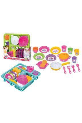 Muhcu Home Kız Çocuk 21 Parça Renkli Bulaşık Mutfak Seti