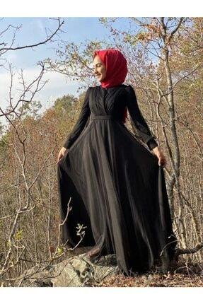 Loreen Kadın Siyah Kruvaze Yaka Abiye Elbise