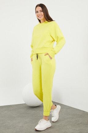 Viking Jeans Kadın Sarı Beli Ve Paçası Lastikli Düz Eşofman Takımı