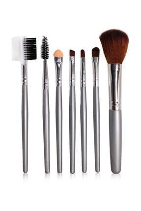 Makeuptime 7'li Deri Çantalı Fırça Seti Gümüş Renk