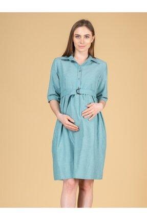BUSA Kadın Açık Yeşil Kemerli Hamile Günlük Elbise