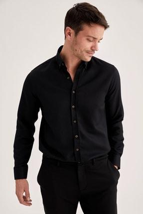 DeFacto Erkek Black Red Modern Fit Uzun Kollu Basic Gömlek T4552AZ21SP