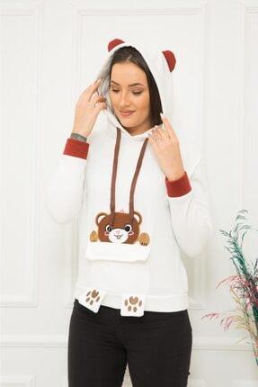 TREND Kadın Beyaz Ayıcıklı Sweatshirt