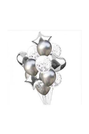 BalonEvi Konfetili Gümüş Balon Seti