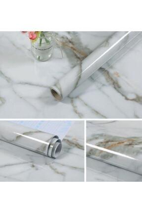 MATMAZELŞHOP Mermer Desenli Mutfak Tezgah Üstü Yapışkanlı Folyo Beyaz 5 M-60cm