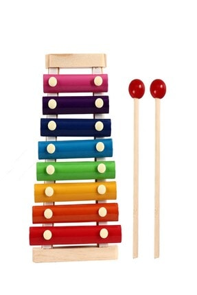 RoseRoi Ksilofon Bebek Ahşap Müzik Aleti 8 Nota 8 Ton 8 Tuşlu Oyuncak Selefon Ksilefon