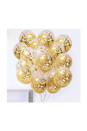 BalonEvi Gold Konfetili Şeffaf Balon Seti - 10 Adet