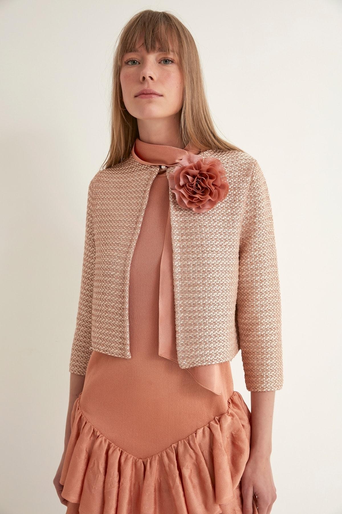 JOIN US Kadın Somon Çiçekli İnci Düğmeli Triko Ceket 2