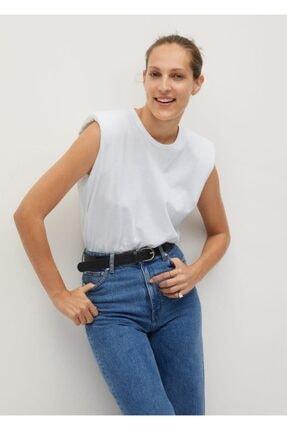 MANGO Woman Kadın Beyaz Organik Pamuklu Vatkalı T-Shirt