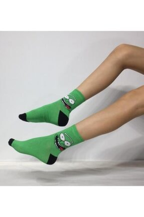ADEL ÇORAP Unisex Turşu Rick Desenli Soket (Uzun) Çorap