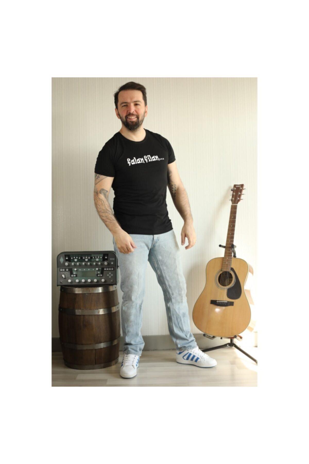 ajel Unisex Siyah Falan Filan Baskılı T-Shirt 2