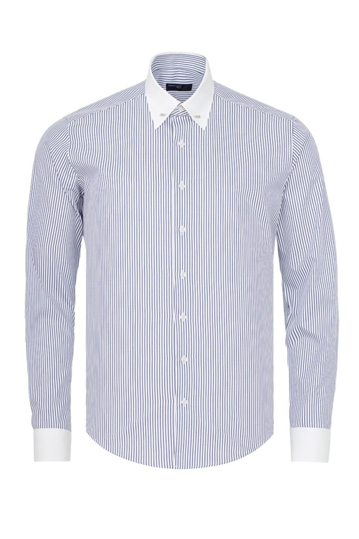 Paşahan Erkek Mavi Beyaz Çizgili Slim Fit Yaka İğneli Gömlek 1