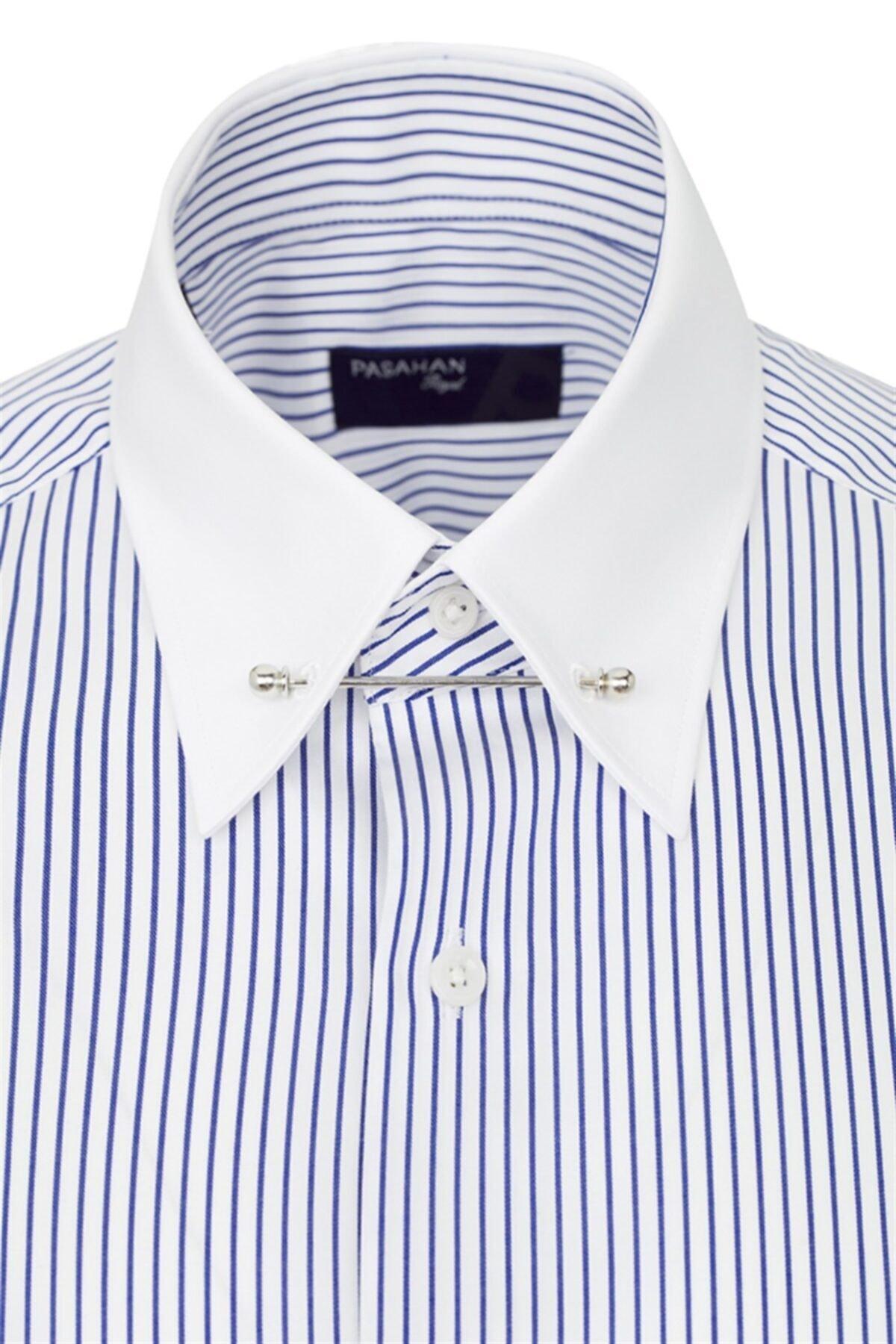 Paşahan Erkek Mavi Beyaz Çizgili Slim Fit Yaka İğneli Gömlek 2