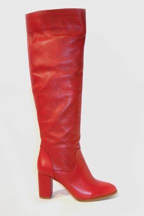 TUNAELLİ Kadın Kırmızı Deri Çizme