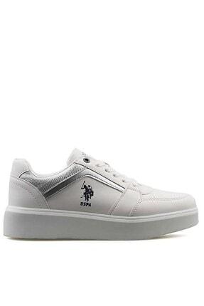 U.S POLO Kadın Beyaz Gümüş Sneaker