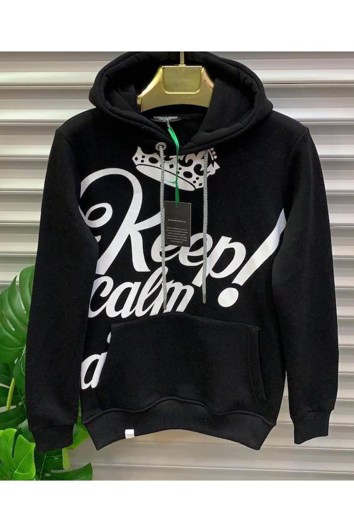 peron 34 clothing Peron34 Clothing Siyah Kanguru Cepli Kapüşonlu Sweatshirt 1