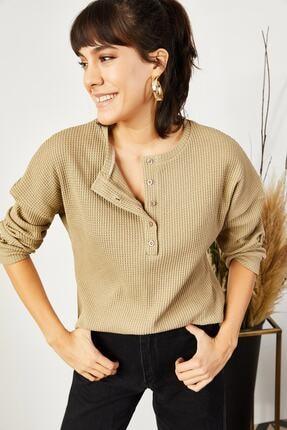 Olalook Kadın Camel Düğmeli Petek Salaş Bluz BLZ-19000703