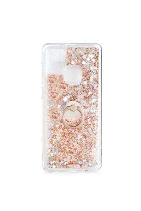 Samsung Teleplus Galaxy A21s Kılıf Milce Yüzüklü Sulu Silikon Gold