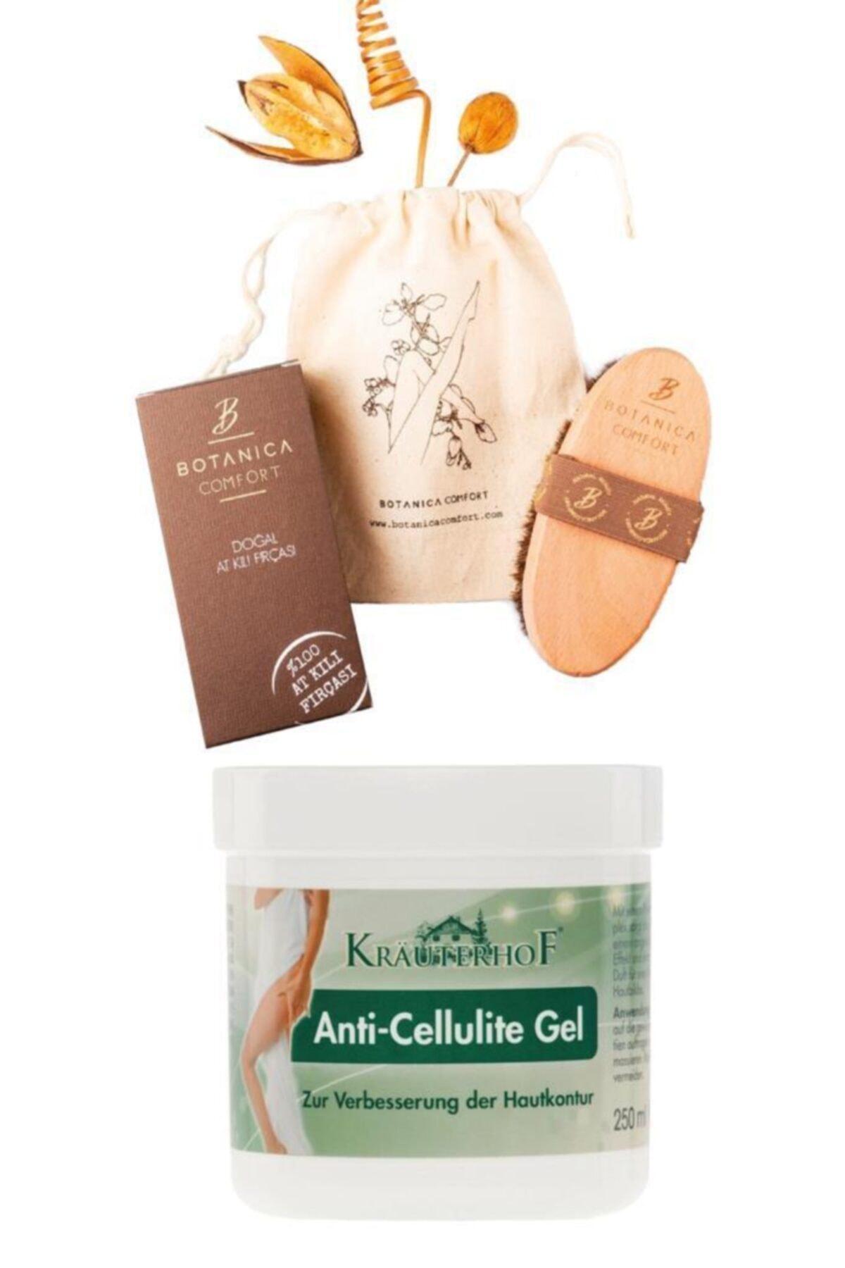 Krauterhof Selülit Karşıtı Jel 250 ml + Botanica Comfort Selülit Karşıtı %100 Doğal At Kılı Fırçası 1